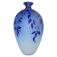 Blue Murano glass vase made by Canal