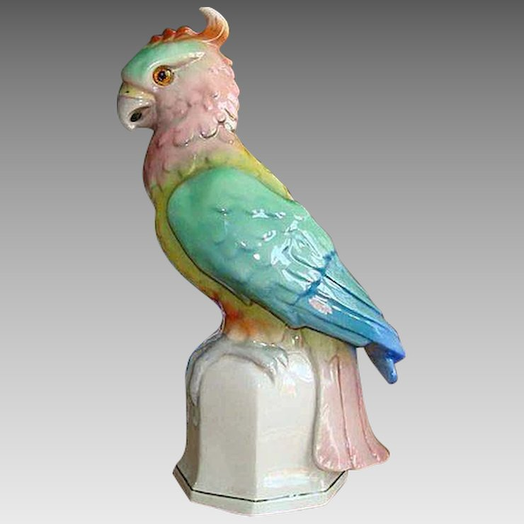 Vintage Porcelain Parrot Table Lamp,Germany Ca. 1940