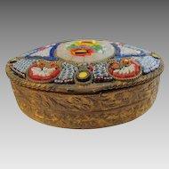Antique Micro Mosaic box depicting beautiful flowers