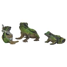 Antique Vienna Bronze figures of three frogs, signed Bergmann