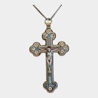 Antique Roman Micro Mosaic crucifix, 19th century