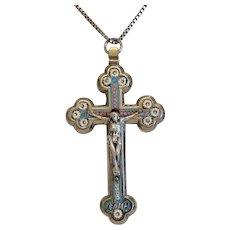 Antique Roman Micro Mosaic crucifix, 19th century