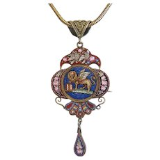 Antique Roman Micro Mosaic locket, gilt silver, circa 1870