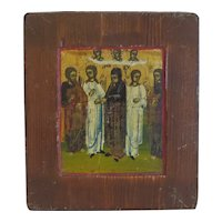 Antique Russian Icon depicting Saints, 19th century