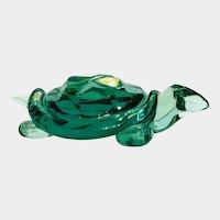 Archimede Seguso green art glass turtle, ca. 1970
