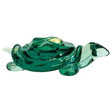 Archimede Seguso green art glass turtle, ca. 1970