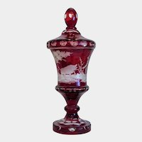 Antique Bohemian ruby red lead crystal glass pokal, 19th century