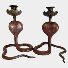 Antique Bronze candle sticks with red Enamel, ca. 1910