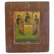 Antique Russian Icon depicting three angels, 19th century