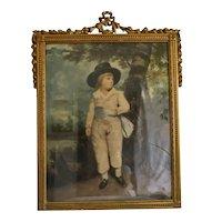 Antique art print depicting a little boy, gilt wood frame, 19th century