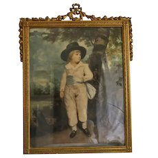 Antique art print depicting a little boy, gilt wood frame, 19th century