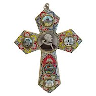 Micro Mosaic cross with a photo of Pope Pius XI, ca. 1930