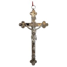 Antique silver plated crucifix, 19th century