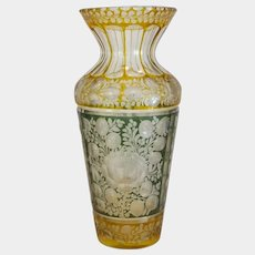 Antique crystal glass vase, Bohemia turn of the 20th century