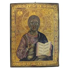 Antique Russian Icon of Christ Pantocrator, 19th century