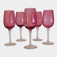 Vintage Bohemian Cranberry wine glasses, early 20th century