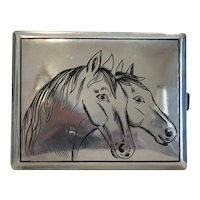 Antique cigarette case with Niello, 19th century