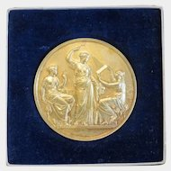 Antique Gilt Bronze medal, signed and dated 1899
