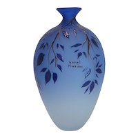 Vintage blue Murano glass vase signed by Luciano Canal, 20th century