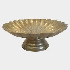 Antique gilt metal bowl with engravings, 19th century
