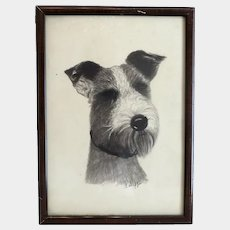 Antique Charcoal drawing of a dog, ca. 1910