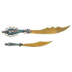 Antique Micro Mosaic openers, 19th century