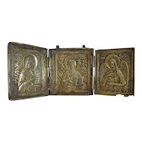 Antique Russian Gilt Metal Triptych, early 19th century