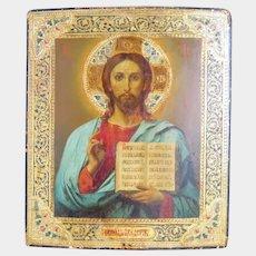 Antique Russian Icon depicting Christ Pantocrator, 19th century