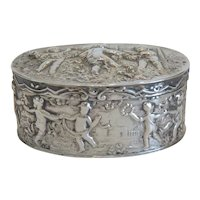 Antique  silver box,  silver 800, 19th century