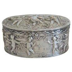 Antique  silver box,  silver 800, 19th century