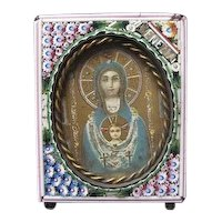 Antique  Micro Mosaic frame with an authentic painting  of the Holy Virgin , early 19th century
