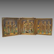 Antique Russian traveling Tryptich adorned with enamel,19th century