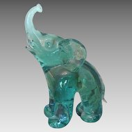 Green glass elephant by Archimede Seguso (1909- 1999) dated at about 1970