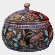 Antique Cloisonne  silver box  with flowers, late 19th century