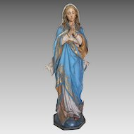 A polychrome carved lime wood figure of the Holy Virgin standing on the crescent moon, South Tyrol end of the 19th century.