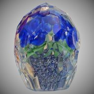 Vintage paperweight with blue flowers, Bohemia ,ca. 1950