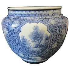 Royal Bonn blue and white flower pot,signed Franz Anton Mehlem, ca.1900