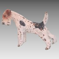 Antique Vienna Bronze figure of a  white Fox Terrier,19th century