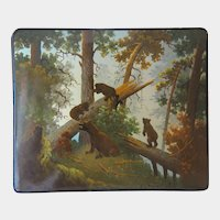 Russian Rectangular Lacquer cigarette case,signed and dated at the early 20th century