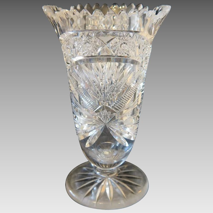 Bohemian Lead Crystal Vase Dated At Ca1920 Chateau Antique Ruby