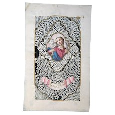 Antique Italian Canivet Holy card depicting Jesus, late 18th century