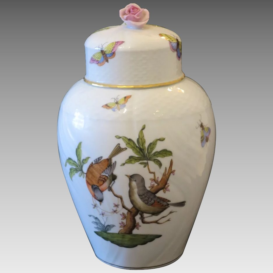 Rothschild Herend Vase With Pink Rose Finial Cover Ca