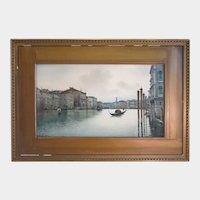 Italy late 19th century,Canal Grande and Rialto, water color signed Veratti