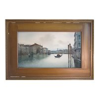Italy late 19th century,Canal Grande and Rialto, water color signed Veratti
