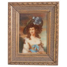 Antique porcelain painting of a young lady, late 19th century