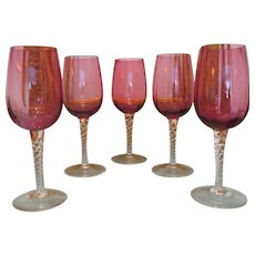 Set of five Bohemian Cranberry and Crystal wine glasses, ca. 1910/1920