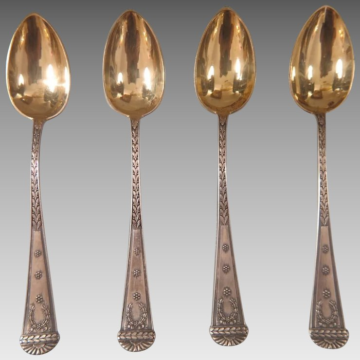 Imperial Russian silver spoons with gilded bowl Russian hallmark and maker´a mark & Imperial Russian silver spoons with gilded bowl Russian hallmark ...