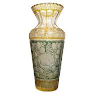 Bohemian Art Nouveau green and yellow crystal glass vase, ca. 1910