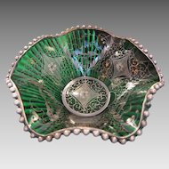 Antique Murano  green glass bowl,Venice late 19th century