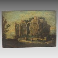 Antique Italian painting crafted oil on wood, dated at the 19th century